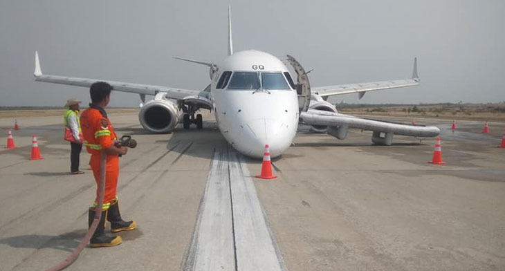 Embraer 190 lands without nose-gear