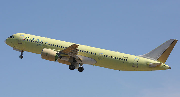 MC-21-300 test aircraft with passenger cabin airborne
