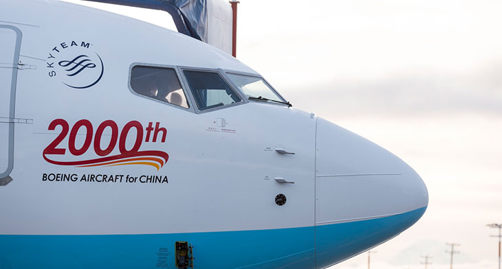 Boeing lands 2,000th delivery in China